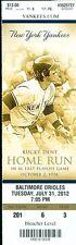 2012 Yankees vs Orioles Ticket: Chris Davis grand slam/ Robinson Cano HR
