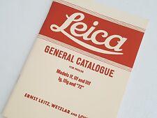 """Leica General Catalogue 1955/58 for Models If, Iif, Iiif, Ig, Iiig, and """"72"""""""