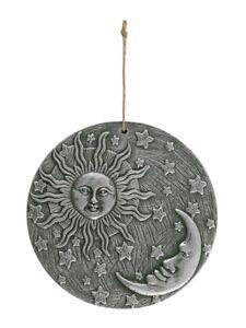 Ornament Terracotta Sun & Moon Wall Plaque Silver 23x23x2cm