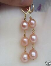 New 10-12MM AAA PERFECT South Sea Pink Pearl Earrings 14K GOLD