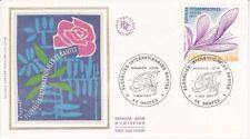 Enveloppe maximum 1er jour FDC Soie 1977 Floralies de Nantes
