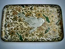 Vtg Viking Imports Alcohol Proof Paper Mache Tip Trinket Tray Japan Bird Floral