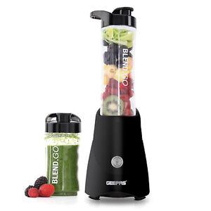 Geepas Blender Personal Sports Smoothie Protein Milkshake Maker 2 Gym Bottles