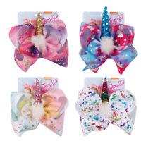 """8"""" Unicorn Printed Hair Bow Hair Clip White Pom pom Horn Rainbow Bow Hair Grip"""
