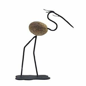 "Francis Metal Works - Desktop Stone Sculpture - S-Neck Heron - 6.5"""