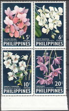 Philippines 1962 Colorful Vanda Orchids Block of 4 MNH (SC# 853a)