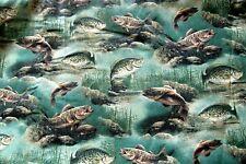 "VINTAGE FABRIC,BASS FISH UNDERWATER LAKE PRINT,CRANSTON PRINTS,45"",7 1/2 YDS."