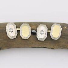 Gold Antique Diamond Cufflinks 14k White & Yellow