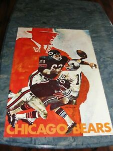 CHICAGO BEARS - vintage 1968 NFL Properties Hoyle Theme Team poster 24X36 (Rare)
