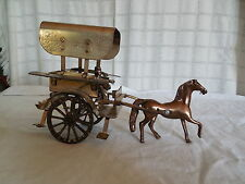 Brass horse & wagon, cart  figure, toy India
