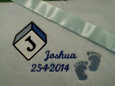 personalized boy / girl  pink or blue bassinet/ cot baby feet blankets