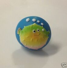 Bubbly Tubbly Whimsical smiling Puffer Fish drawer cabinet KNOB pull marine blue