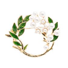 Enamel Green Leaves Round Olive Branch  Brooch Broach Pin Women Dress Jewelry