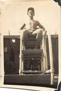 G62/ Vintage Snapshot Photograph Photo 1943 Shirtless Boy Lifeguard Buff 2