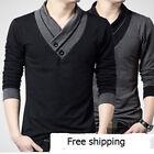 Plus size Gray/Black Fashion Men's T-shirt V-Neck Long sleeved Casual Cotton Top