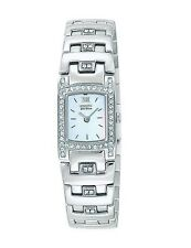 CITIZEN $265 WOMEN'S ECO-DRIVE DAZZLING CRYSTALS SILVER DRESS WATCH EW8140-54N