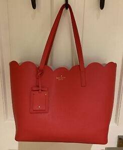 NWOT KATE SPADE Margaret Shore Street Scallop Red Tote Handbag