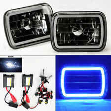 "7X6"" 8K HID Xenon Black Chrome Glass CCFL Blue Halo Headlight Conversion Dodge"