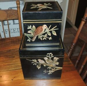 Set Of 2 Black Lacquer Hand Painted Oriental Boxes Chest. Birds.
