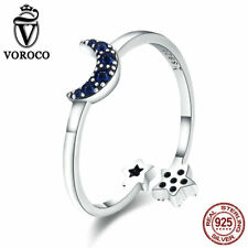 VOROCO 925 Silver Round Band Moon And Star Rings Adjustable Rings For Girls Gift