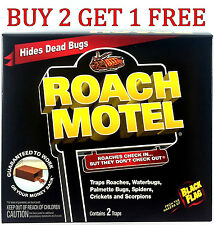 2 Traps Black Flag Roach Motels Cockroach Killer bait Glue Trap Motel