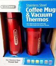 Beverage Tumbler & Thermos Set Sub Zero Red Stainless Steel 2 Pc 15 oz,  17 oz