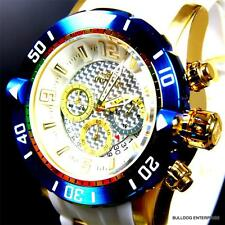 Invicta Pro Diver II 50mm Chronograph 18kt Gold Plated Blue White Watch New