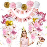 39Pc Unicorn Foil Balloons Kids Favor Happy Birthday Banner Wedding Party Decor