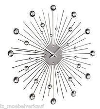 """Uhr, Wanduhr """"Stein"""" Ø 50 cm mit Dekosteinen, Strahlenform silber  167249"""