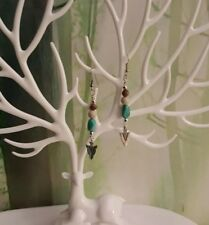 Turquoise and silver arrowhead Earrings Handmade Unique Gift USA