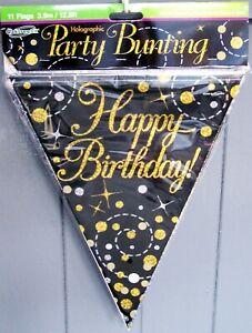 """Holographic """"Happy Birthday"""" Party Bunting - Black & Gold. Length 3.9m/12.8ft"""