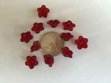 50 pcs Cute Frosted Red Wine 13mm 5 Petal Acrylic Flower Beads