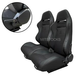 2 X TANAKA BLACK & BLACK RACING SEATS RECLINABLE + SLIDERS FOR ALL DODGE
