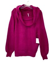 Free People Women's Sz XS Purple Wool Blend Echo Beach Cowl Neck Sweater $128