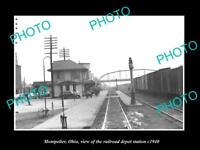 OLD LARGE HISTORIC PHOTO OF MONTPELIER OHIO, THE RAILROAD DEPOT STATION c1940