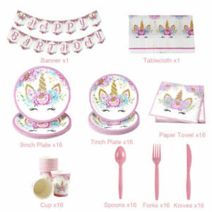 114Pcs Unicorn Tableware Paper Banner Baby Shower 1st Birthday Party Decoration