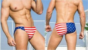 "MENS Swimming Briefs Trunks Swimwear Nylon Size M 32"" America USA flag speedo"