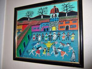 "Roman Lopez Original Mexican Folk art Oil on Masonite  16""×20"", 1984 Festival"