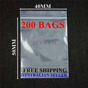200 Resealable Zip Lock plastic bags 40MMX50MM + FREE SHIPPING