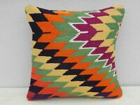 Orange Green Kilim Pillow Vintage Large Cushion Cover Antique Sofa Art 20 x 20""