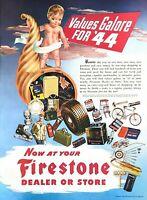 1944 Firestone Vintage Print Ad WWII Values Galore For '44 Car Parts Dealer