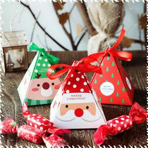 Christmas Santa Elk Ribbon Paper Candy Cookies Package Box Gift Bag Party Decor