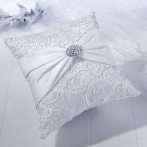 White lace satin wedding ring bearer pillow ringBearer pilow