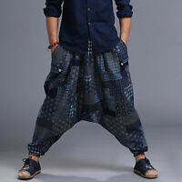 Men's Ethnic Hip-hop Trousers Print Elastic Waist Long Baggy Harem Pants Casual