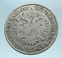 1832 A AUSTRIA Emperor Franz II Hapsburg Genuine Silver 20 Kreuzer Coin i78297