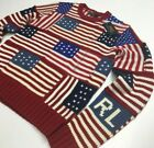 Polo Ralph Lauren American USA Flag Patchwork Patriotic Knit Sweater July 4th S