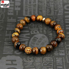 Men's Women's Tiger Eye Stone Gems Bead Elastic Stretch Healing Bracelet KDBSB34