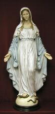 "Lady of Grace Hand-Painted Alabaster on a Wood Base 36"" Statue Made in Italy."