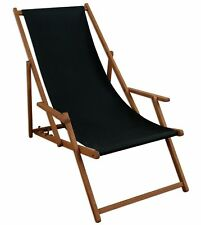 Chaise longue noir BOIS LIT Soleil Transat pour jardin relaxliege 10-305
