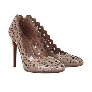 Alaia Blush Leather Silver Edged Laser-Cut Pumps Heels Shoes IT40 UK7